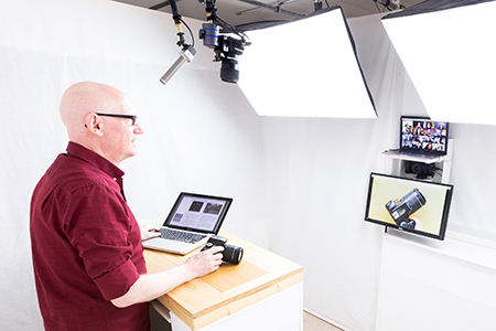 Fully functional TV studio with multiple video camera feeds