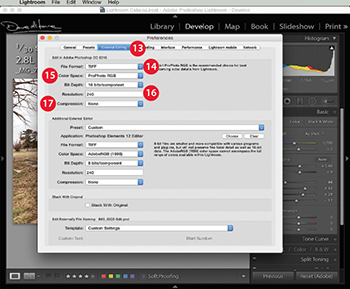 Image 1 - Click on 'External Editing' to choose the best options for your workflow